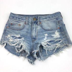 American Eagle HR Festival Light Wash Shorts 00